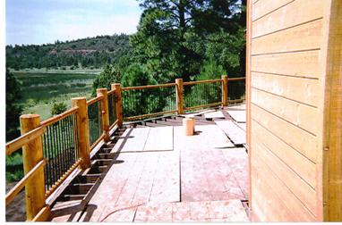 View From The Deck Of Arizona Cabin With Raised Around Lodgepole Hand Led