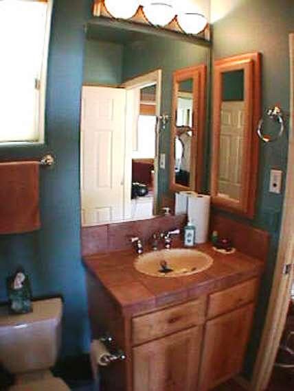 Bath Bathroom Sw Vigas Latillas Pine Poles Az Arizona Hand Peeled Railings Pine Mantels Santa Fe Homes Southwest Design Lodge Pole Viga Vigas Peeled Door Casing Saguaro Wrap Around Logs Slab Counter