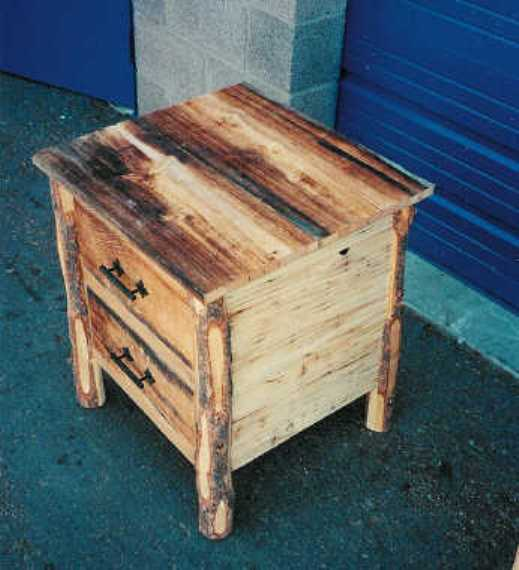 Cowboy Nightstand Uses Aged Barn Wood Rough Sawn Pine Spruce Boards Corners Are Made