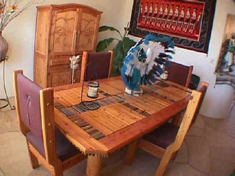 Southwest Dining Room Table Uses Saguaro Rib Inlay Between Dry Pine Rustic  Boards. Table Legs