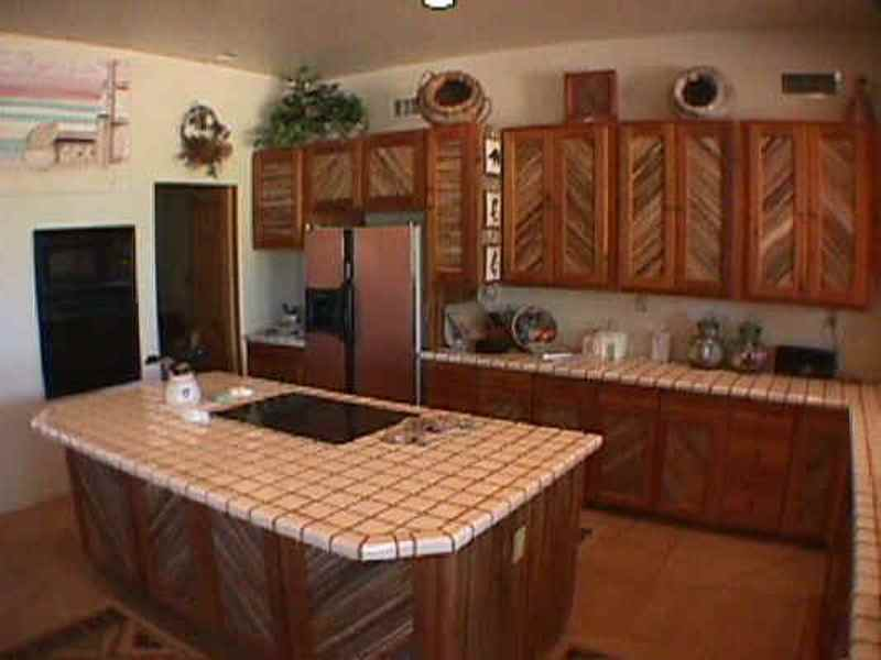 Exceptional SW Santa Fe Style Kitchen Island Has Hand Made Mexican Tile Counter. Front  Is Saguaro